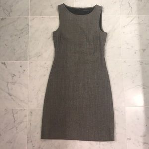 Theory shift dress as 0 grey wool viscose cotton